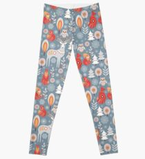 Seamless pattern with winter forest, deer, owl and Fox. The Scandinavian style.  Leggings