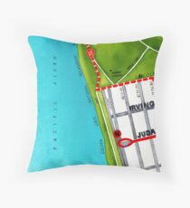 San Francisco map - Outer Sunset Throw Pillow