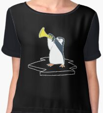 Penguin Trumpets - Animals Playing Instruments, Musical Instrument, Animal Lover, Cute Women's Chiffon Top