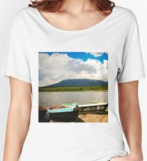 Boats on a mountain lake Women's Relaxed Fit T-Shirt