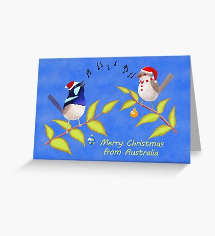Australian Cute Blue Wren Christmas Carols  Greeting Card