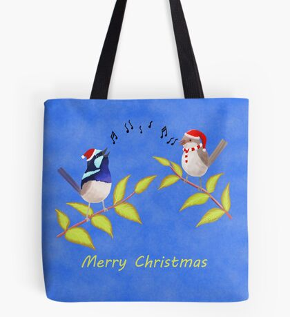 Australian Cute Blue Wren Christmas Carols  Tote Bag