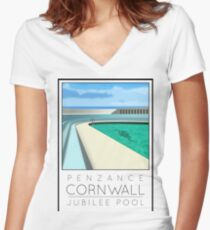 Lido Poster Penzance Jubilee Women's Fitted V-Neck T-Shirt