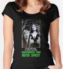 Vampira Plan 9 From Outer Space Outerspace Ed Wood B-movie Bmovie Cult Classic film movie schlock bad movie female girl elvira black hair mistress of the dark horror host sci fi science fiction Women's Fitted Scoop T-Shirt