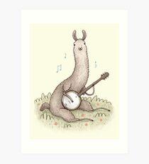 Banjo Llama Art Print