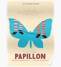 Papillon, Steve McQueen vintage movie poster, retrò fine art playbill, Dustin Hoffman, 1973 hollywood film Poster