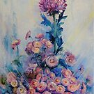 Sapphire Dew. Morning with Chrysanthemums by Natalia Lvova