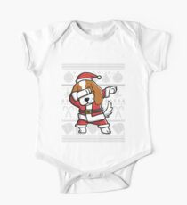 Dabbing Cavalier King Charles Spaniel Ugly Christmas Sweater Graphic One Piece - Short Sleeve