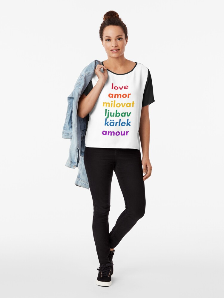 Alternate view of LOVE in 6 Languages Chiffon Top