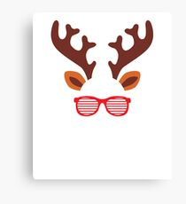 Reindeer Glasses Christmas Cute  Canvas Print