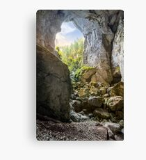 Cetatile cave sculpted by river in romanian mountains at sunrise Canvas Print
