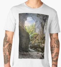Cetatile cave sculpted by river in romanian mountains at sunrise Men's Premium T-Shirt