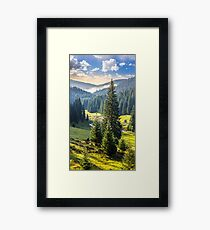 camping place near forest river in mountains at sunrise Framed Print