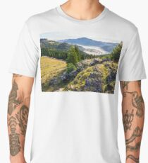 valley with conifer forest full of fog in mountain Men's Premium T-Shirt