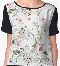 Romantic Watercolor Flower Pattern Women's Chiffon Top
