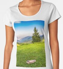 lonely fir tree on the edge of slope in foggy mountains at sunrise Women's Premium T-Shirt