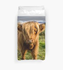 Highland cow on the island of skye Duvet Cover
