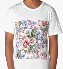 Romantic Watercolor Flower Pattern Long T-Shirt