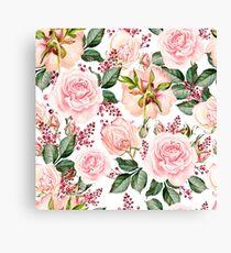 Romantic Watercolor Flower Pattern Leinwanddruck
