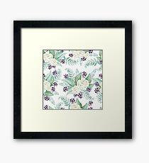 Romantic Watercolor Flower Pattern  Framed Print
