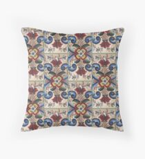 Blue Red Rosemal Tole Viking Folk Art Scandinavian Norway Old World Woods Painting Kirsten Throw Pillow