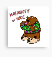 Ugly Sweater Bear - Green Sweater Canvas Print