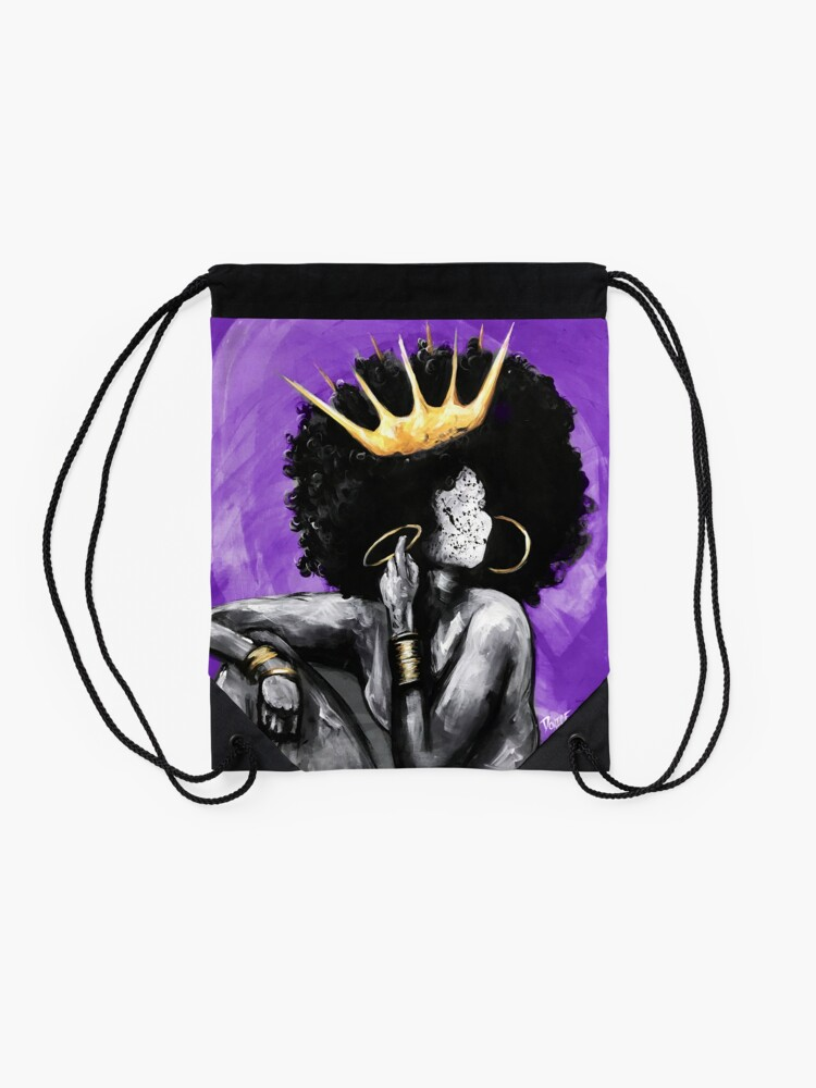 Alternate view of Naturally Queen PURPLE Drawstring Bag
