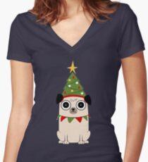 It's Christmas for Pug's sake Women's Fitted V-Neck T-Shirt