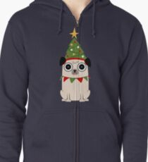 It's Christmas for Pug's sake Zipped Hoodie