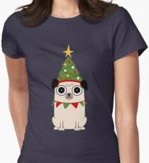 It's Christmas for Pug's sake Fitted T-Shirt