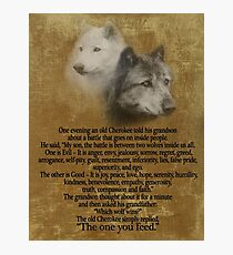 The Two wolves, Cherokee proverb Photographic Print