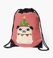 It's Christmas for Pug's sake Drawstring Bag