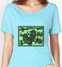 Assemblage Bird Green Black Women's Relaxed Fit T-Shirt