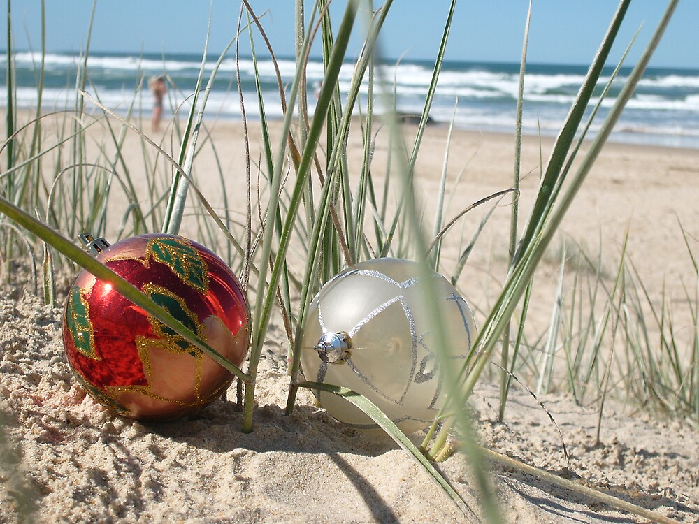 Two Christmas Baubles On The Beach by Celeste Brignac