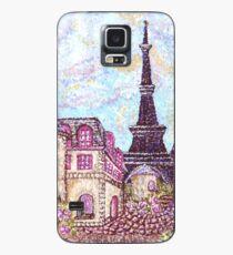 Paris Eiffel Tower inspired pointillism landscape by Kristie Hubler Case/Skin for Samsung Galaxy