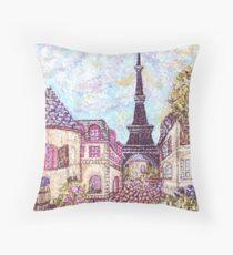 Paris Eiffel Tower inspired pointillism landscape by Kristie Hubler Throw Pillow