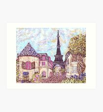 Paris Eiffel Tower inspired pointillism landscape by Kristie Hubler Art Print
