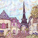 Paris Eiffel Tower inspired pointillism landscape by Kristie Hubler by kristiehubler