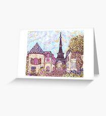 Paris Eiffel Tower inspired pointillism landscape by Kristie Hubler Greeting Card