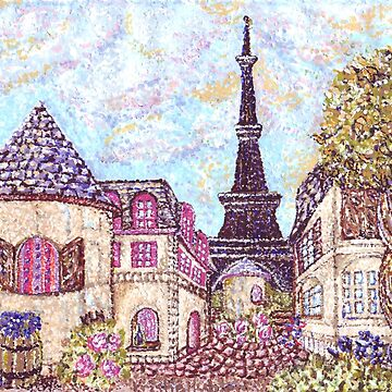 Paris Eiffel Tower inspired pointillism landscape by Kristie Hubler by kristiehubler