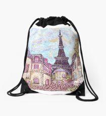 Paris Eiffel Tower inspired pointillism landscape by Kristie Hubler Drawstring Bag