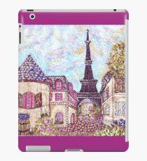 Paris Eiffel Tower inspired pointillism landscape by Kristie Hubler iPad Case/Skin