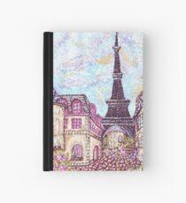 Paris Eiffel Tower inspired pointillism landscape by Kristie Hubler Hardcover Journal