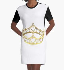 Queen of Hearts gold crown tiara by Kristie Hubler Graphic T-Shirt Dress