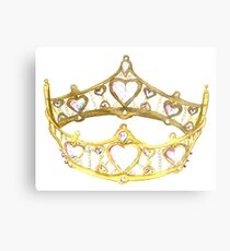 Queen of Hearts gold crown tiara by Kristie Hubler Metal Print