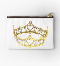 Queen of Hearts gold crown tiara by Kristie Hubler Studio Pouch