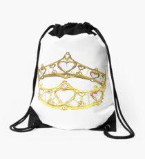 Queen of Hearts gold crown tiara by Kristie Hubler Drawstring Bag