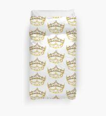 Queen of Hearts gold crown tiara by Kristie Hubler Duvet Cover