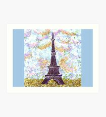 Eiffel Tower Pointillism by Kristie Hubler Art Print