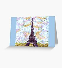 Eiffel Tower Pointillism by Kristie Hubler Greeting Card